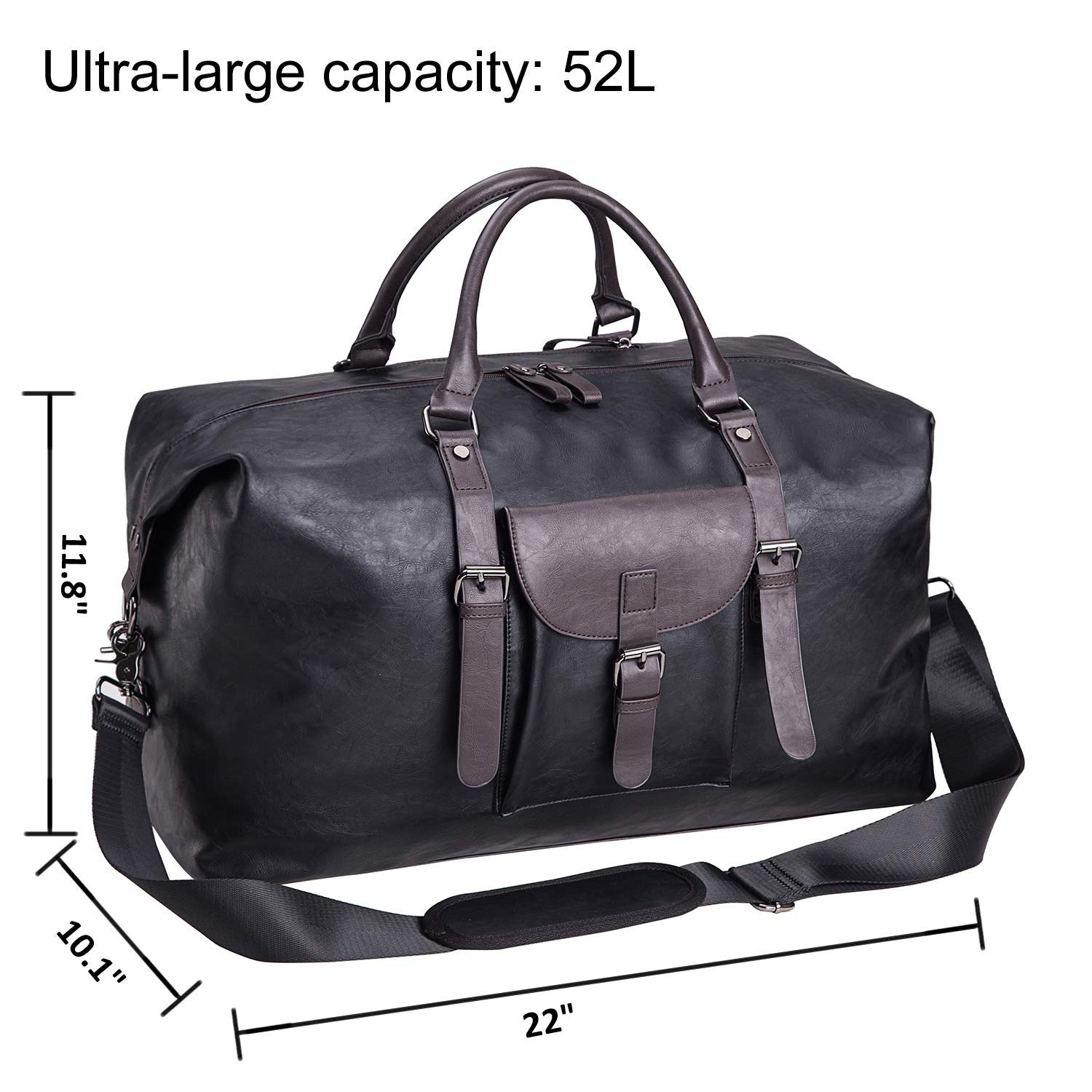 d80b10d94 Amazon.com | Oversized Leather Travel Duffel Bag Black,Weekender Overnight  Bag Waterproof Leather Large Carry On Bag Travel Tote Duffel Bag for Men or  ...