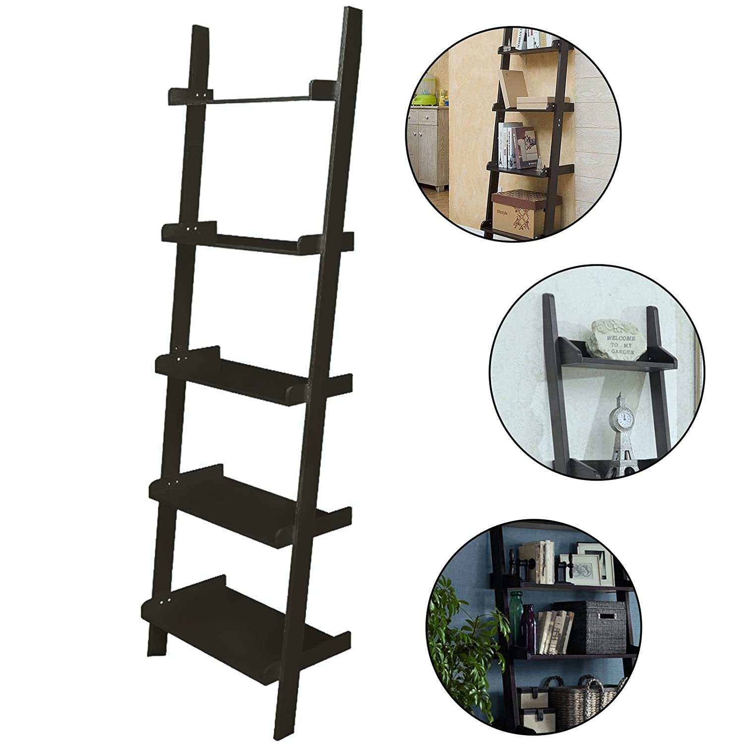 AllRight Ladder Bookshelf Wall Lean 5 Tiers Wooden Display Unit Bookcase Black oem