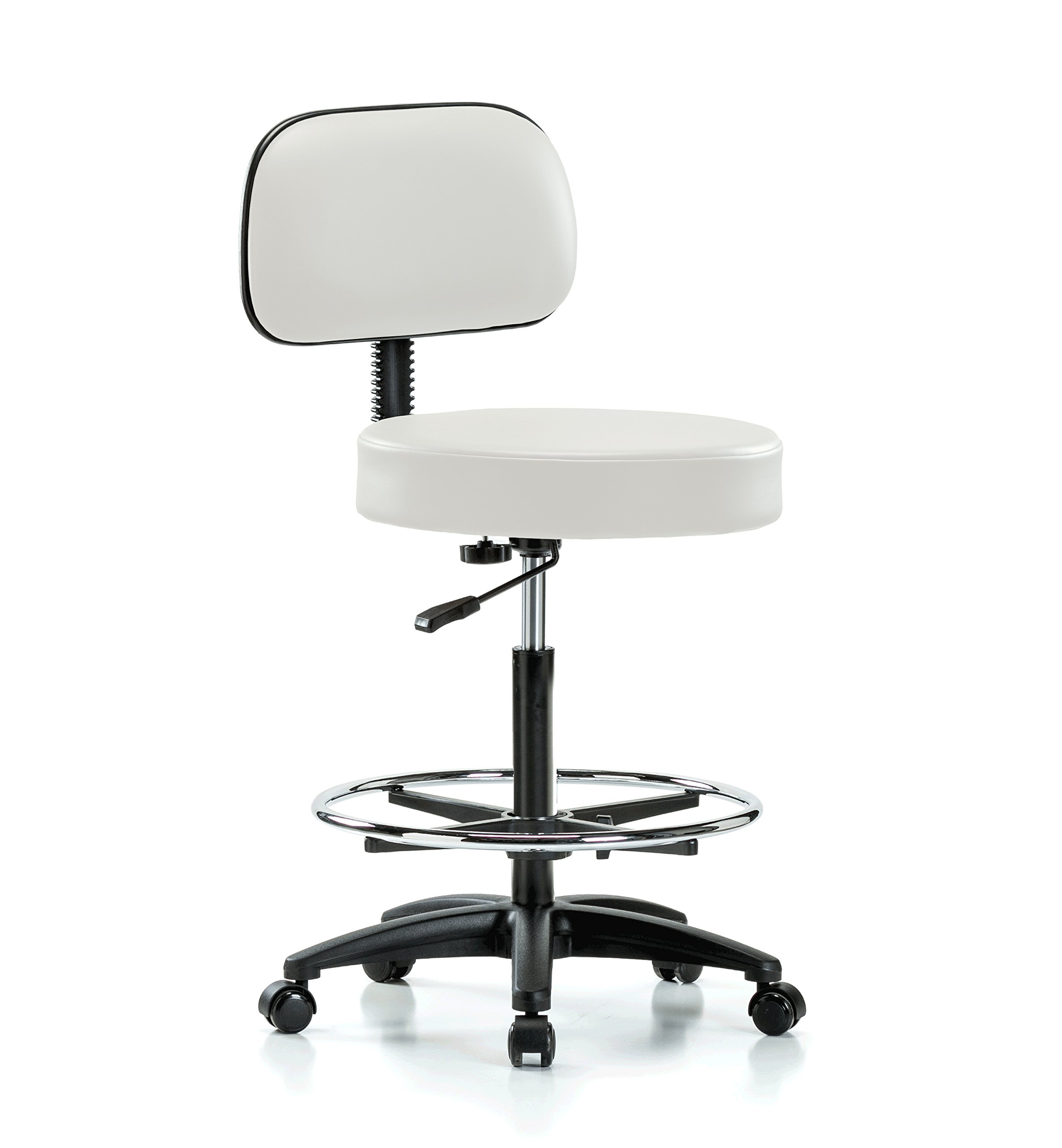 Perch Rolling Walter Exam Office Stool with Footring and Adjustable Backrest for Medical Dental Spa Salon Massage Lab or Workshop 25'' - 35'' (Soft Floor Casters/Adobe White Vinyl)
