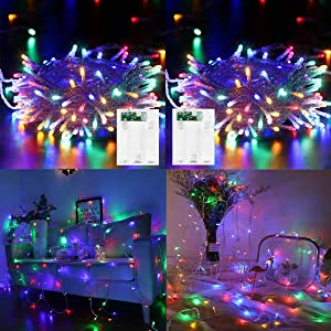 2 Pack LED String Lights Battery Operated Fairy String Lights Twinkle Decorative Lights 100 LED 33ft Battery Powered Starry Lights for Bedroom, Wedding, Chirstmas, Festival Party, Garden, Patio Decor