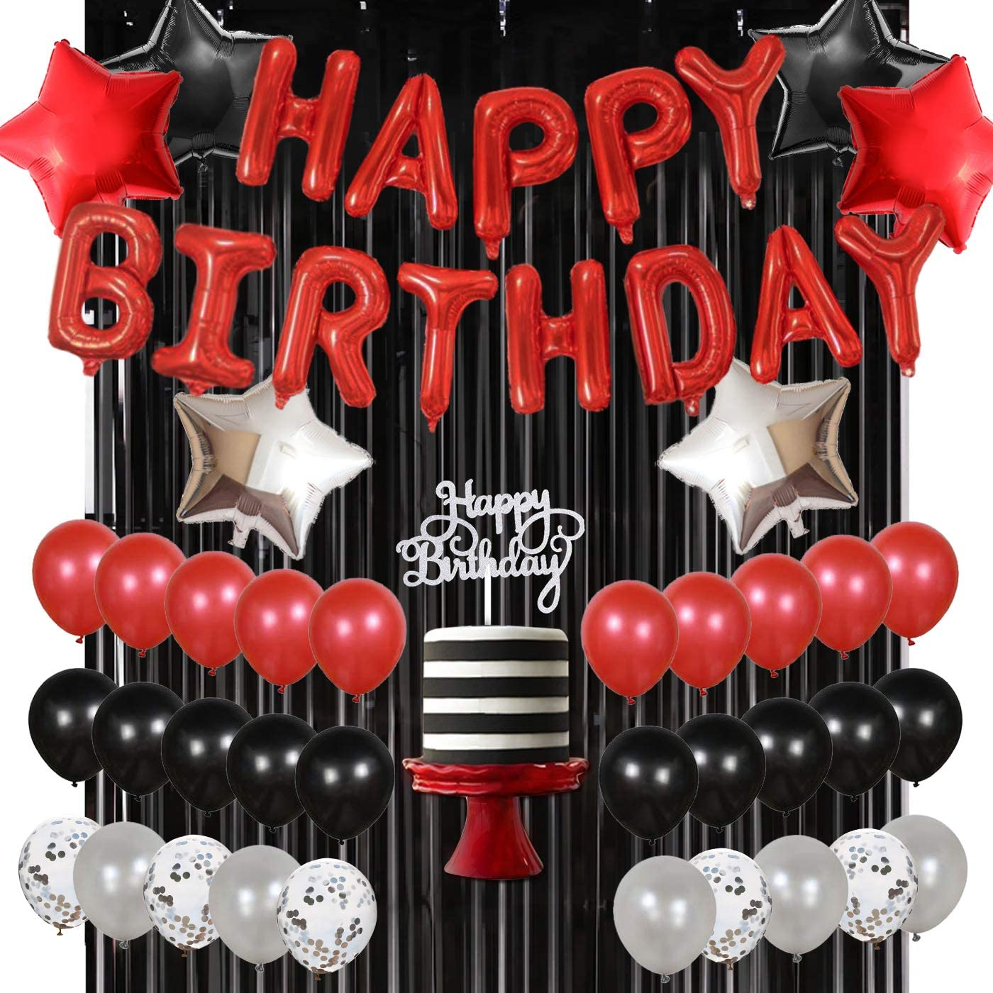 Red Black and Silver Balloons for Women Men Birthday Party Decorations Happy Birthday Balloon Banner Cake Topper Banner Star Foil Balloons Black Tinsel Curtain