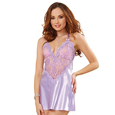 6e41d593b Amazon.com  Dreamgirl Women s Alluring Satin Charmeuse Chemise with Lace  Details  Clothing