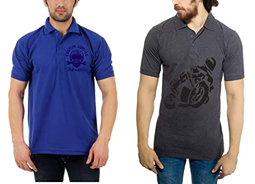 25551e5f5488 Vestiario Biker Combo of 2 Polo Neck T-Shirts with Free Cap and Key Chain