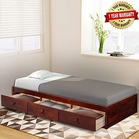Wood Platform Bed With 3 Drawers Wood Slat Support No Box Spring Needed Twin Size