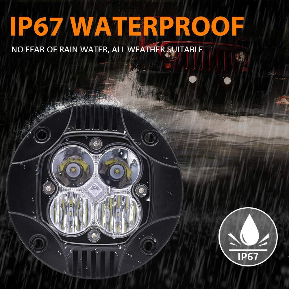50W Spot and Flood Lamp Off Road LED Work Lights MICTUNING Flush Mount LED Light Pods 2 Pack 3000LM Super Bright Driving Fog Light for SUV UTE ATV Truck