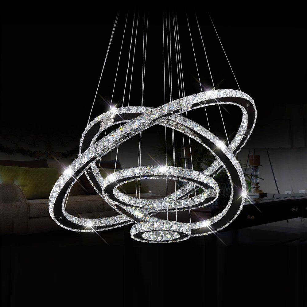 Dearlan Modern Crystal 4 Ring Chandeliers D31.5''+23.6''+15.7''+7.8'' Ceiling Lighting Fixture Chandelier Lighting for Living Room Hotel Hallway Foyer Entry Bed Room by Dearlan (Image #4)