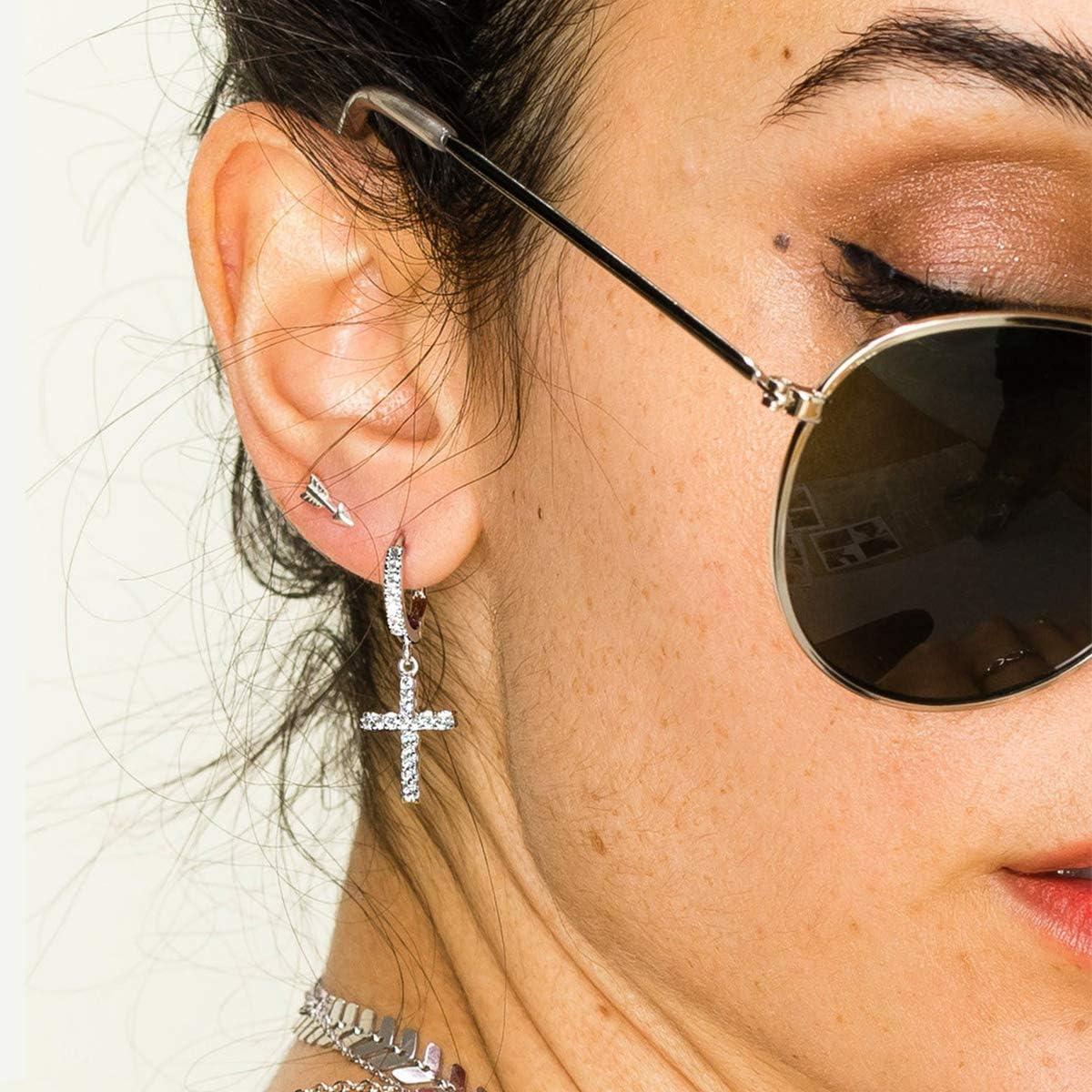 14K Gold/ Silver/ Rose Gold Plated Huggie Earrings CZ Tiny Small Hoop Earrings Heart Cross Ear Cuff Initial Huggies Earrings Minimal Jewelry for Women Girls