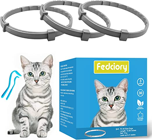 Fedciory Calming Collar for Cats 3 Pack, Adjustable Relieve Reduce Anxiety Pheromone Your Pet Lasting Natural Calm Collar Up to 15 Inch Fits Cat