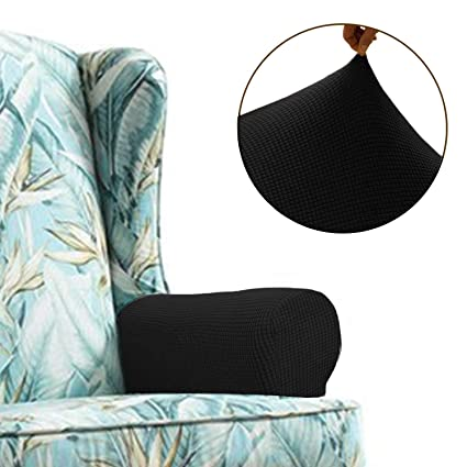 Chelzen Stretch Sofa Armrest Covers Set Of 2 Spandex Fabric Arm Slipcovers Protectors For Couch Chair And Recliner Armrest Covers Black