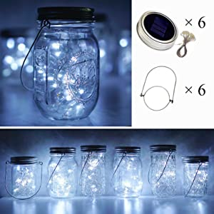 Cynzia Solar Mason Jar Lid Lights, 6 Pack 20 LED Waterproof Fairy Star Firefly String Lights with (6 Hangers Included,Jars Not Included), for Mason Jar Table Garden Wedding Party Decor(Cold White)
