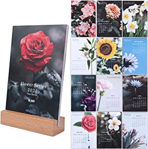 UCEC 2021 Desk Calendar, 4 x 6 Inch Small Mini Desktop Calendar, Flower Photo Monthly Calendar with Easel Stand, Gift for Her, Colorful Home Office Decor