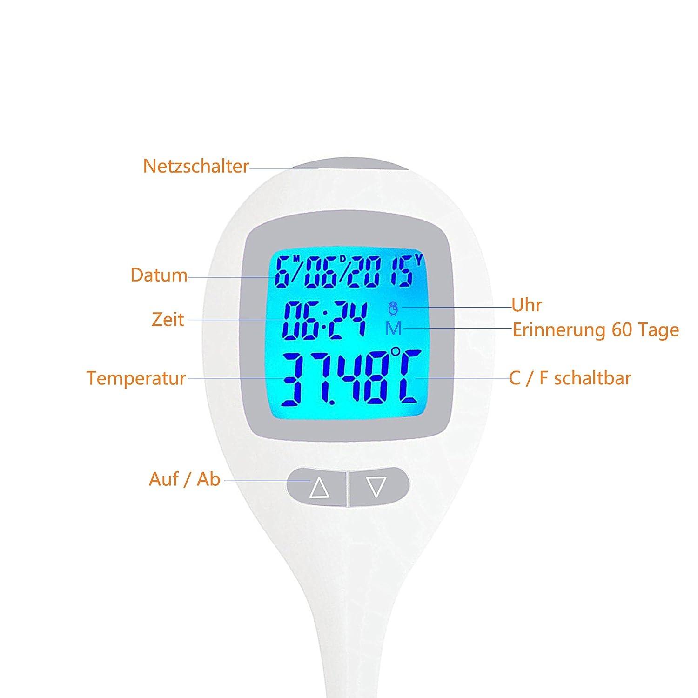 m/émoire de temp/érature de 60 jours Thermom/ètre basal num/érique pour tester la p/ériode dovulation pr/écision +//- 0.05C horloge matinale disponible C//F commutable