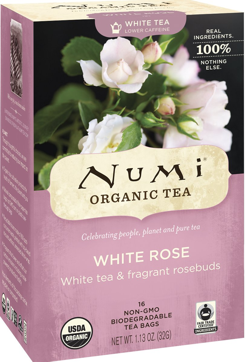Numi Organic Tea--White Rose--16-Count Box of Tea Bags Non-GMO Biodegradable Tea Bags--Premium Organic Bagged White Tea --Drink Hot or Iced