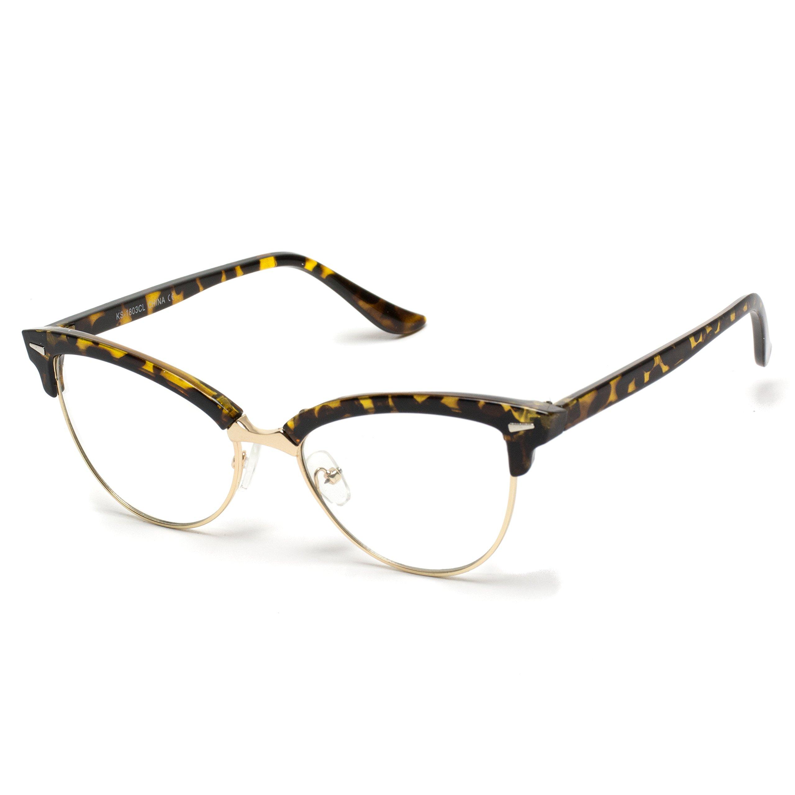 WearMe Pro - New Vintage Retro Semi-Rimless Cat Eye Glasses for Women by WearMe Pro