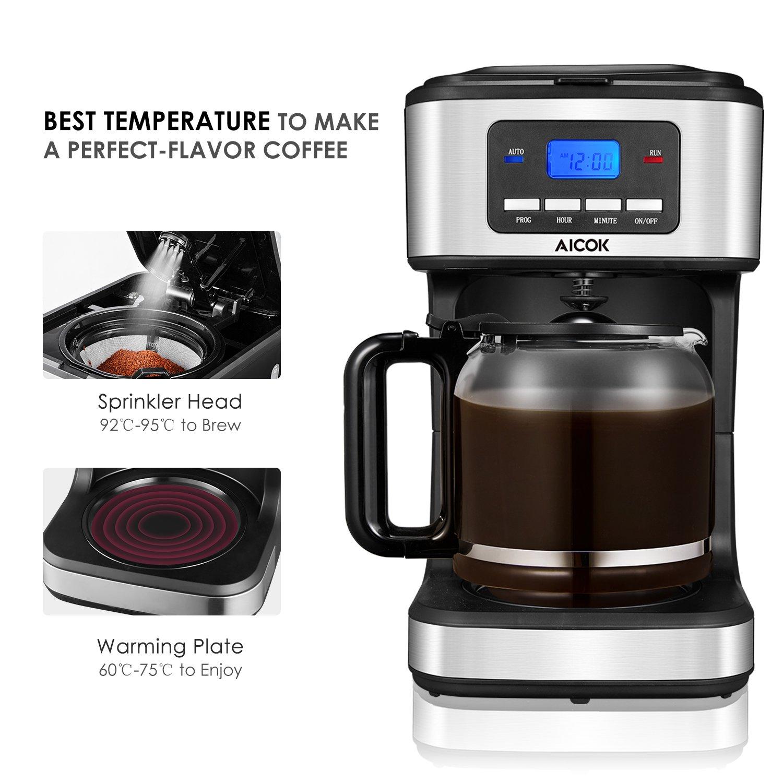 Cafetera programable, Aicok Cafetera 12 tazas, Drip Cafetera ...