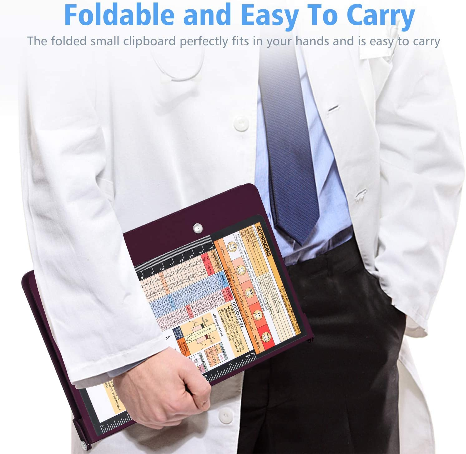 Wine Nursing Edition Clipboard with Quick Medical Reference Form Clinical Memo Full Size Foldable