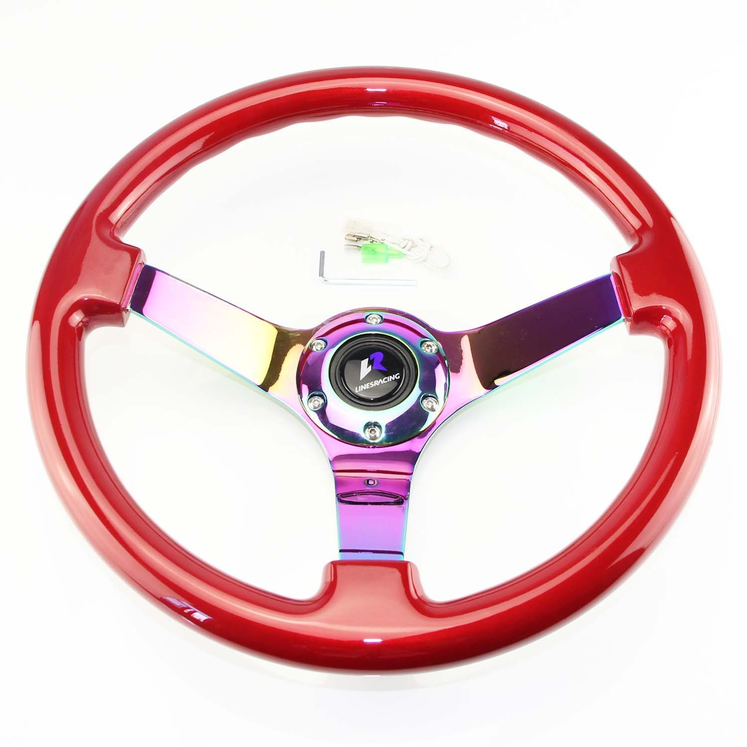 Neo Chrome Spoke LR Universal 14 steering wheel with horn 6 bolts 3 Dish White