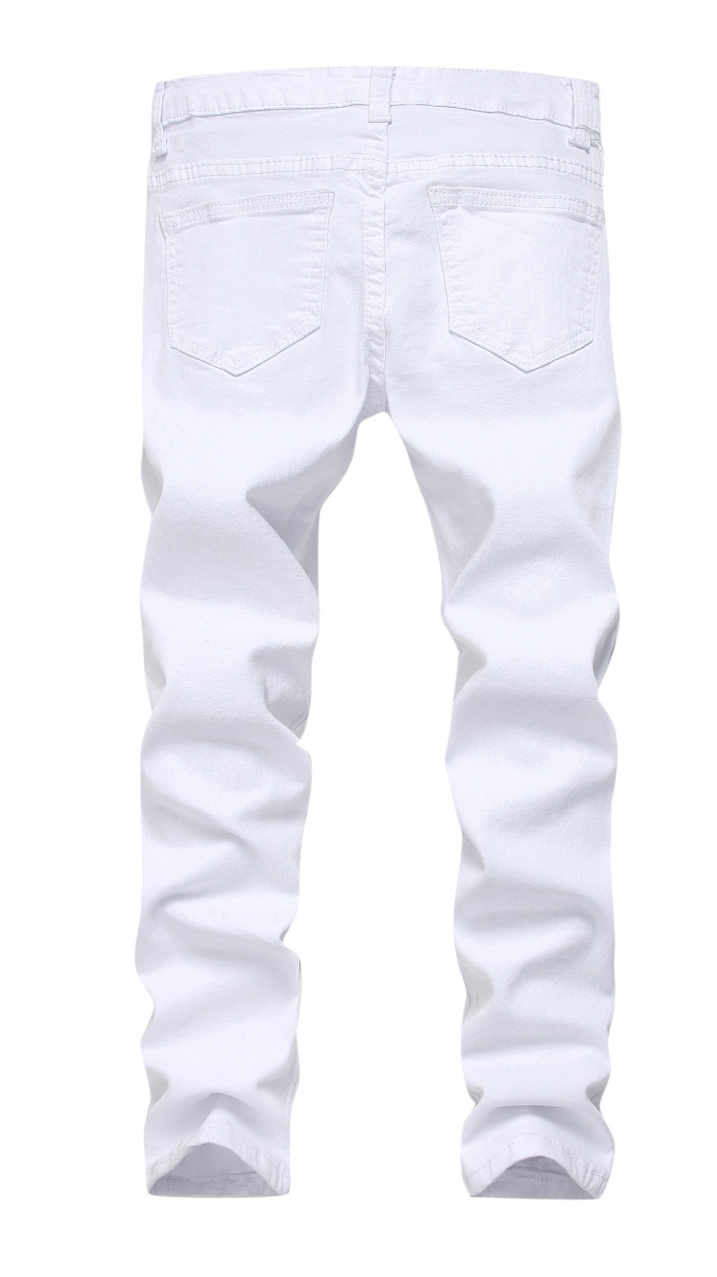 bb1ed4bf8c59 FREDD MARSHALL Boy's White Skinny Fit Ripped Destroyed Distressed Stretch  Slim Jeans Pants