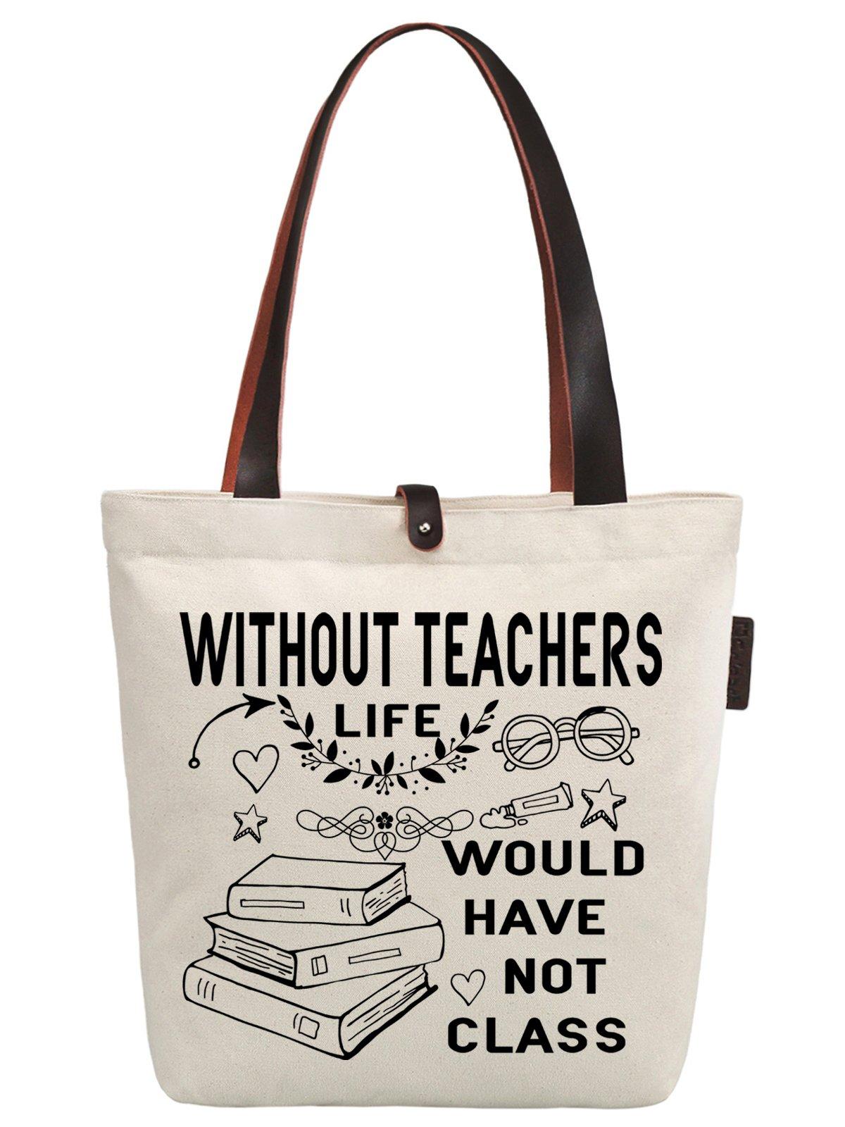 So'each Women's Thanks Teachers Gift Graphic Canvas Handbag Tote Shoulder Bag