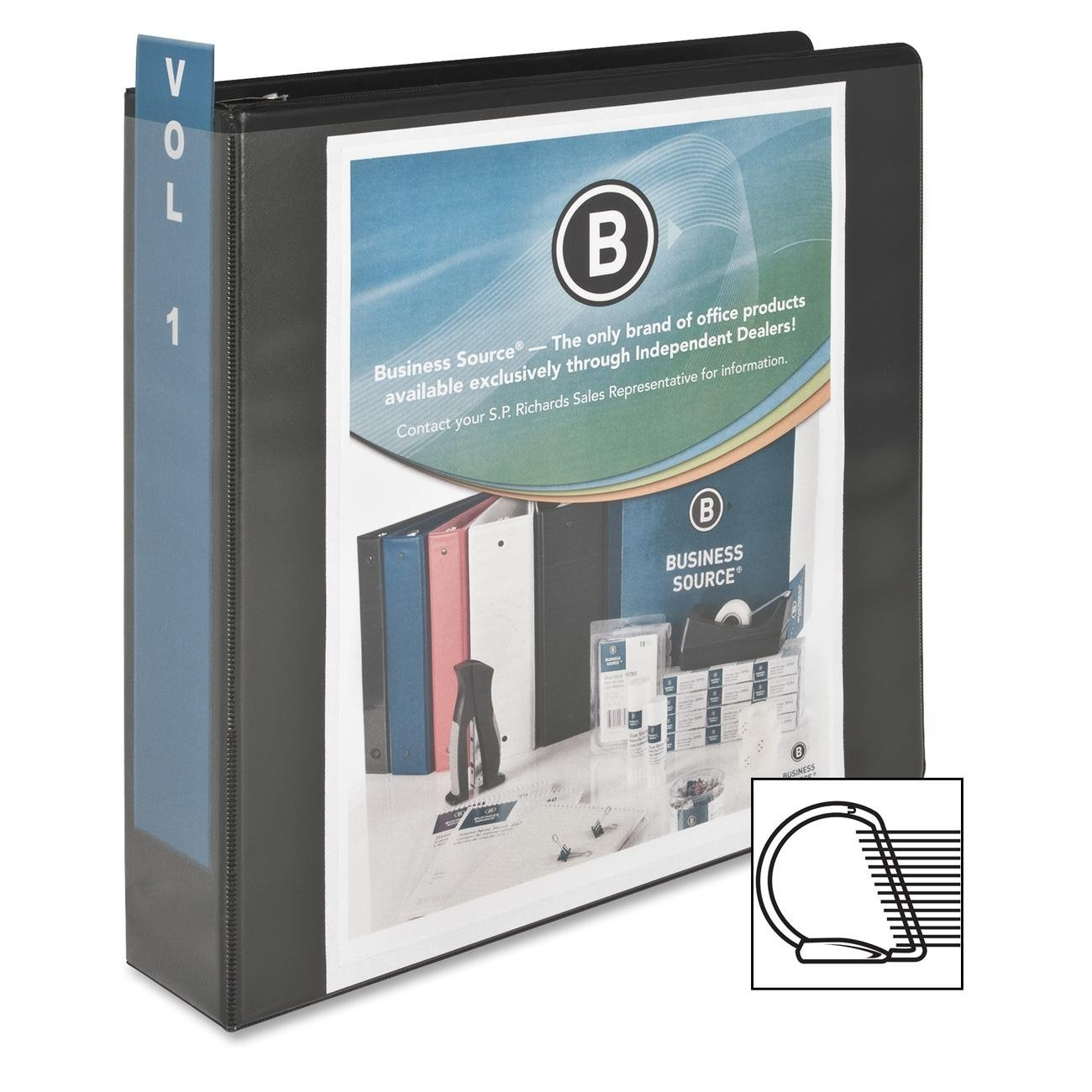 Quality Product By Business Source - D-Ring View Binder 2amp;quot; Capacity 11x8-1/2amp;quot; Black