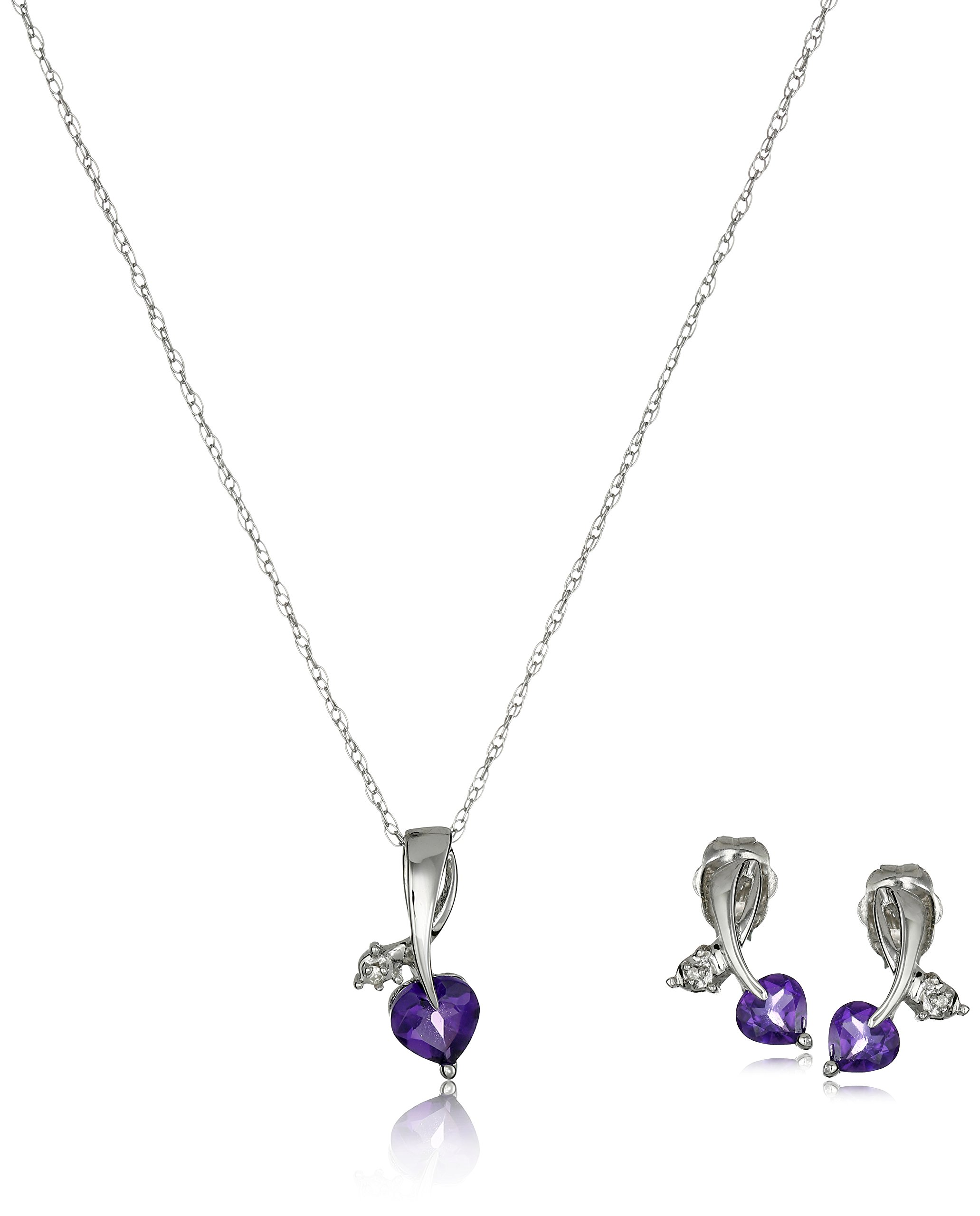 10k White Gold Amethyst and Diamond Accent Leaf Heart Pendant Necklace and Earrings Jewelry Set, 18''