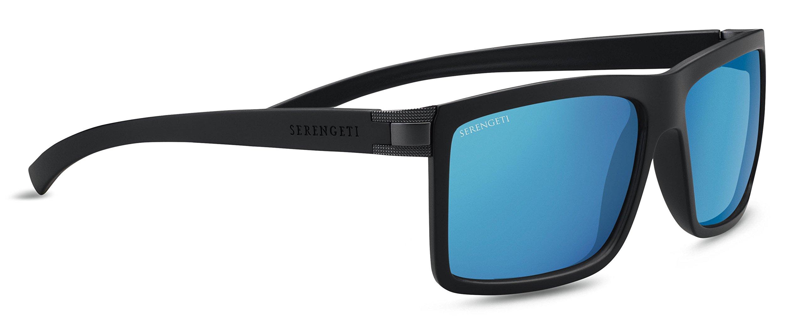 Serengeti Brera Large Sunglasses Sanded Black/Satin Dark Gunmetal, Blue