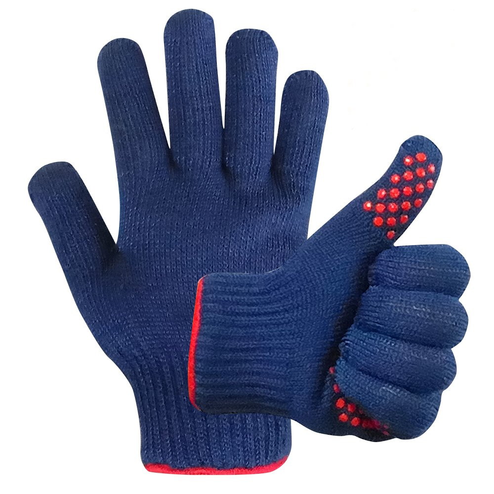 MIGLIOREU BBQ Gloves Grill Cooking Heat Resistant - BBQ Accessories Silicone Oven Mitts - Use as Pot Holders Forearm Protection - 1 Pairs - for Men and Women
