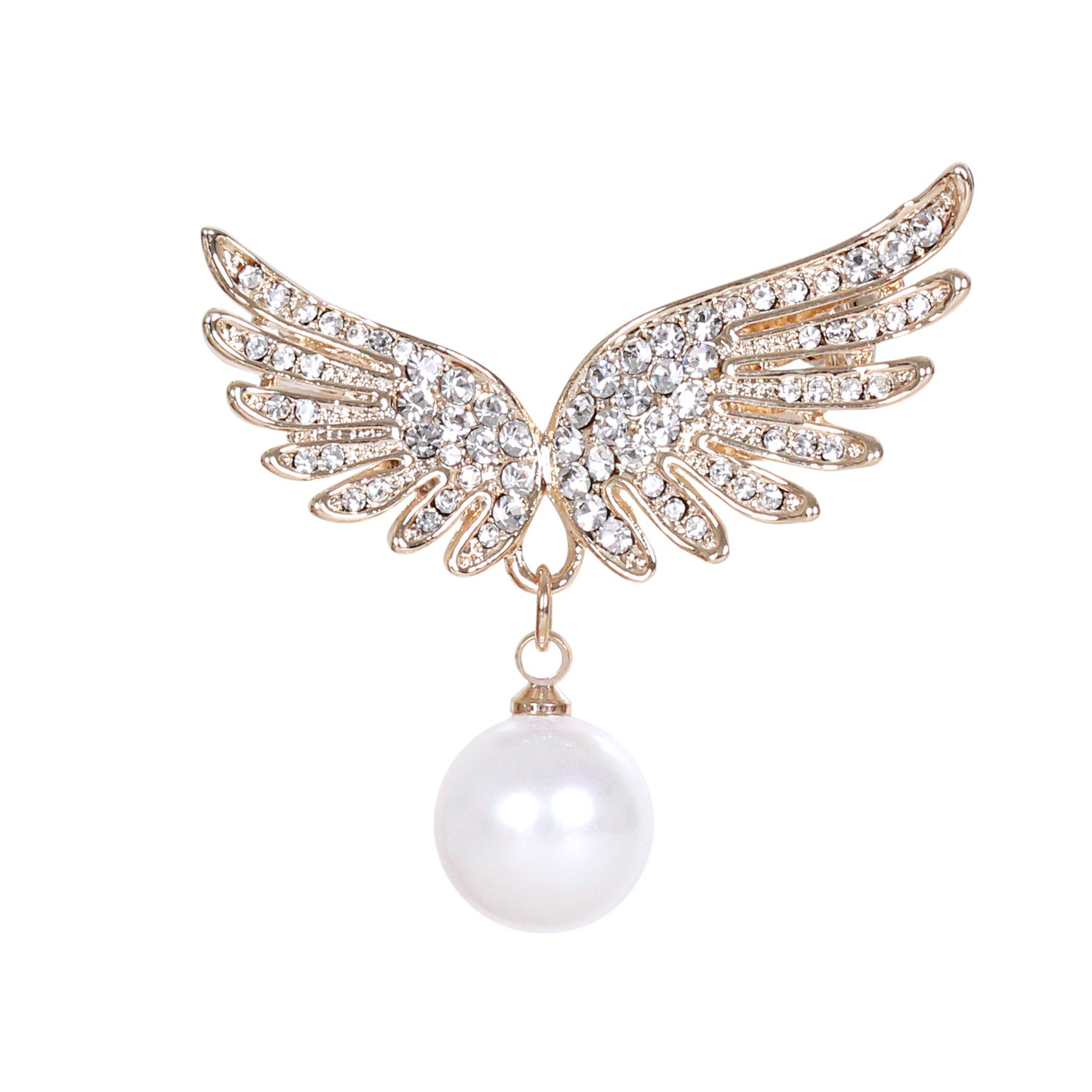 sourjas Fashion Simulated Pearl Jewelry Gold-tone Crystal Angel Wings Brooch Cute Women Wedding Bridal Pins