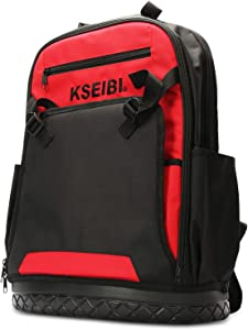 KSEIBI Laptop Backpack Tool Bag Heavy Duty Tools Job-Site Organizer with 32 Pockets, Impact Resistant Molded Base and Computer Sleeve For Tradesman, Electricians and Contractors (221650)