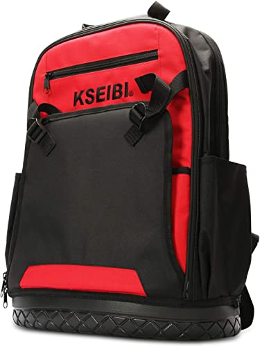KSEIBI Laptop Backpack Tool Bag Heavy Duty Tools Job-Site Organizer with 32 Pockets, Impact Resistant Molded Base and Computer Sleeve For Tradesman, Electricians and Contractors 221650