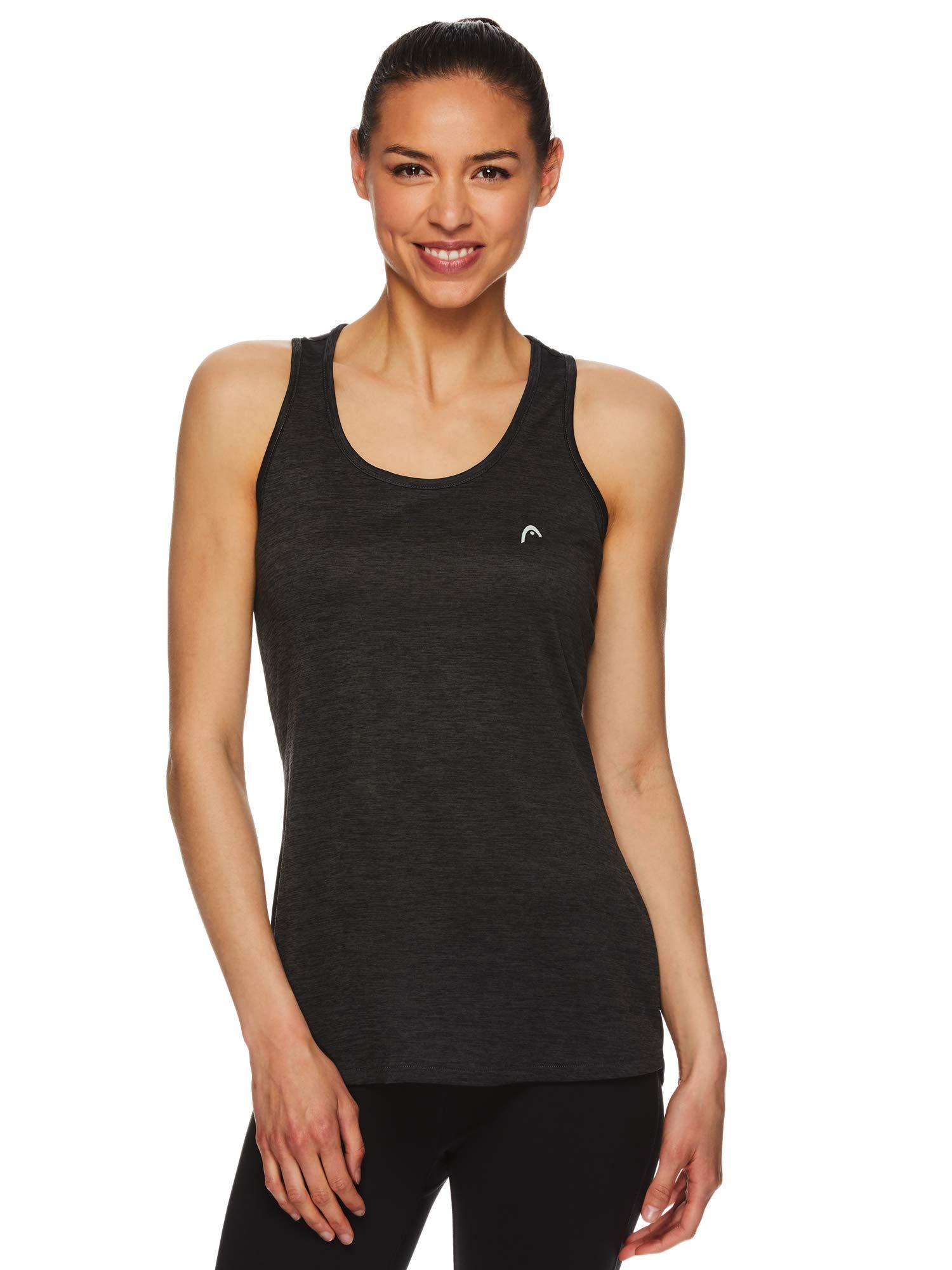 HEAD Women's Racerback Tank Top - Sleeveless Flowy Performance Activewear Shirt - Rally Black Heather, X-Small