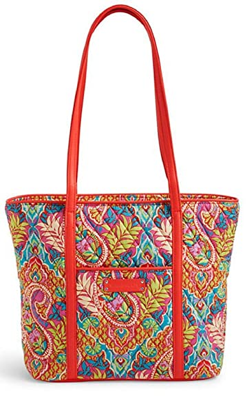 Amazon.com  Vera Bradley Womens Paisley In Paradise Quilted Tote Handbag  Red Medium  Shoes 93664485a7266