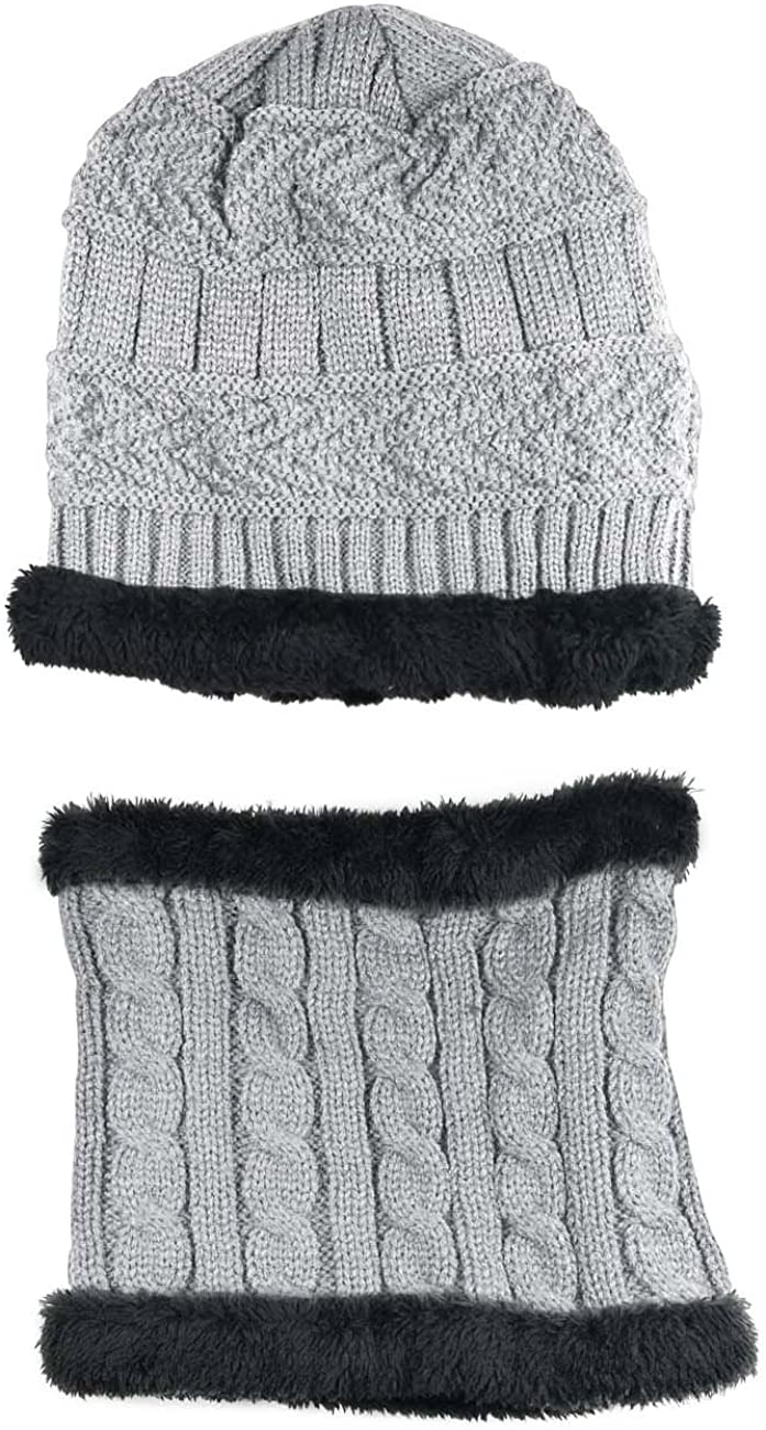 Winter Hat Scarf for Boys Girls Kids Slouchy Beanie Windproof Warm Knit Snow Infinity Scarf Skull Cap 5-14 Years