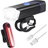 AMIR Bike Light Set, 5W LED 180 Lumens Headlight, 15 LED Taillight, USB Rechargeable, IPX-6 Waterproof Long-Running Bike Headlight with 4 Modes 6 Brightness, 510 Feet Beam Length for Cycling Safety
