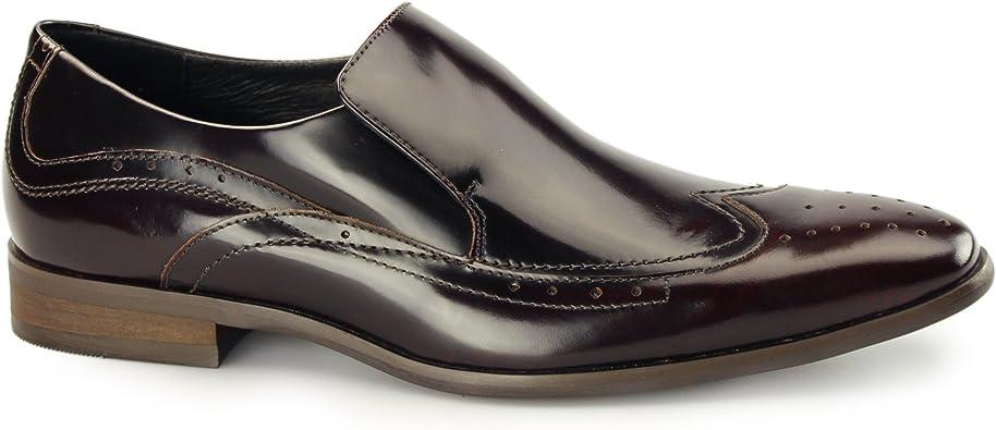 Azor Vicenza Mens Piel Slip on Brogues un baño Negro/Rojo: Amazon.es: Zapatos y complementos