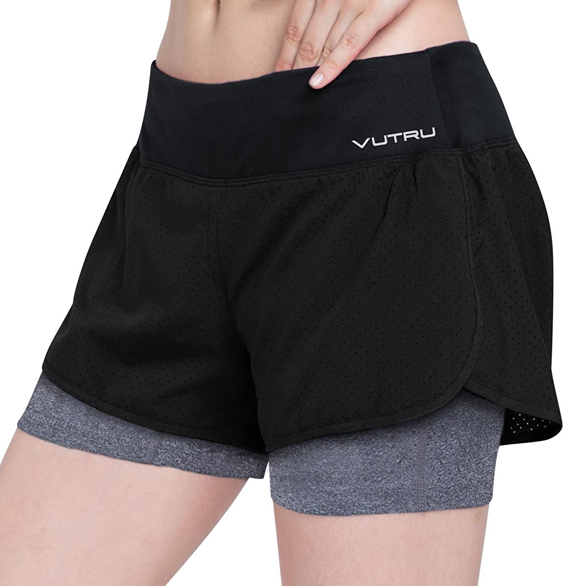 FANGNVREN Short Sport Femme,2In1 Running Shorts Women Breathable Outdoor Fitness Sports Short Training Exercise Jogging Yoga Shorts Sportswear Black