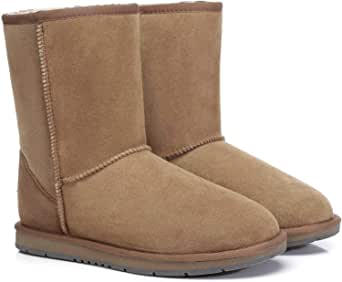 UGG Classic Short Boots for Women's Men's Uggs Premium Twinface Sheepskin Snow Boot Water Resistant Black Grey Chestnut Chocolate Shoes Best Gifts