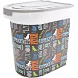 Paw Prints 26 Pound Pet Food Storage Container, Bone Design, Includes 1 Cup Measured Scoop, 15.5 x 13.25 x 16.75 Inches (37185)