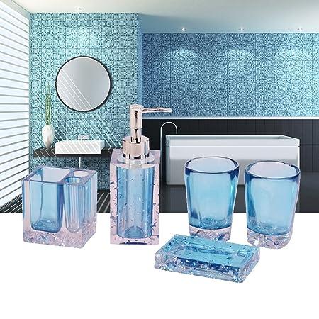 luxury acrylic bathroom accessories set with tooth brush holder rh amazon co uk Navy Blue Bathroom Decor Aqua Bathroom Decor