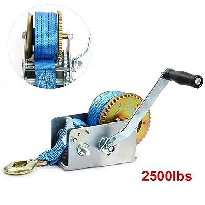 8milelake 2500lbs Hand Winch Hand Crank 2 Gear Strap Gear Winch Polyester Strap ATV Boat Trailer Heavy Duty (2500LBS)