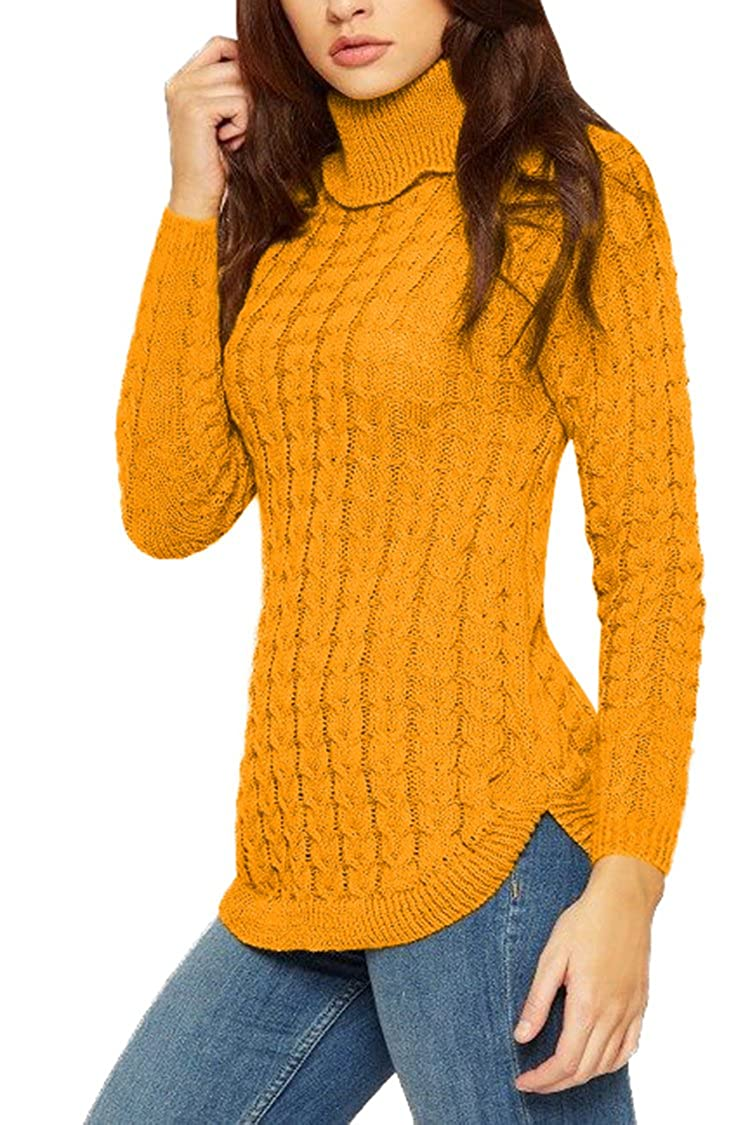 Viottiset Womens Turtleneck Cable Knit Sweater Pullover Long Sleeve Jumpers