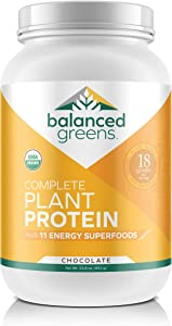 Plant Based Protein Powder Plus Green Superfoods by balanced greens, Raw,Organic,Vegan, Gluten Free Protein Shake, Probiotics, Chocolate - 34 Servings