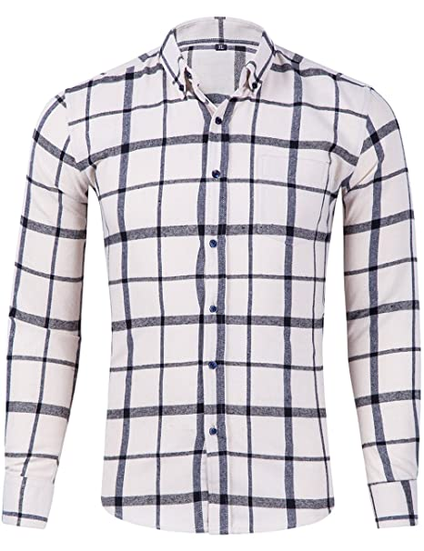 de6f8ee3b7 XI PENG Men's Winter Warm Button Down Plaid Checked Long Sleeve Flannel  Shirts (Beige Black