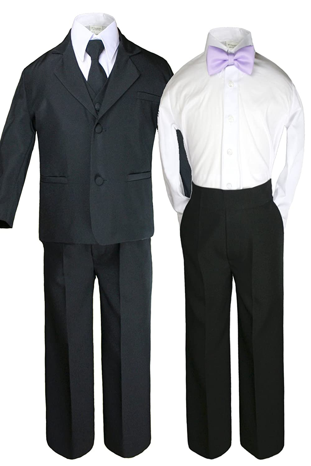 Unotux 6pc Baby Toddler Boy Teen Formal Black Suit Set or 1pc Satin Bow Tie Only Sm-20