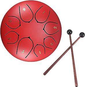 Tambores de hendidura, tambor de lengüeta de acero, tecla D de 6 pulgadas y 8 tonos, tambor Handpan con baquetas, bolsa, cubierta para dedos, instrumento de percusión para conciertos musicales, Red