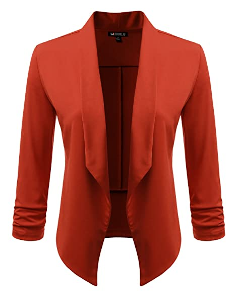 cc1b0fb2db294 Doublju Solid   Printed Thin Lightweight Draped Open Front Blazer for Women  with Plus Size Brick Small at Amazon Women s Clothing store