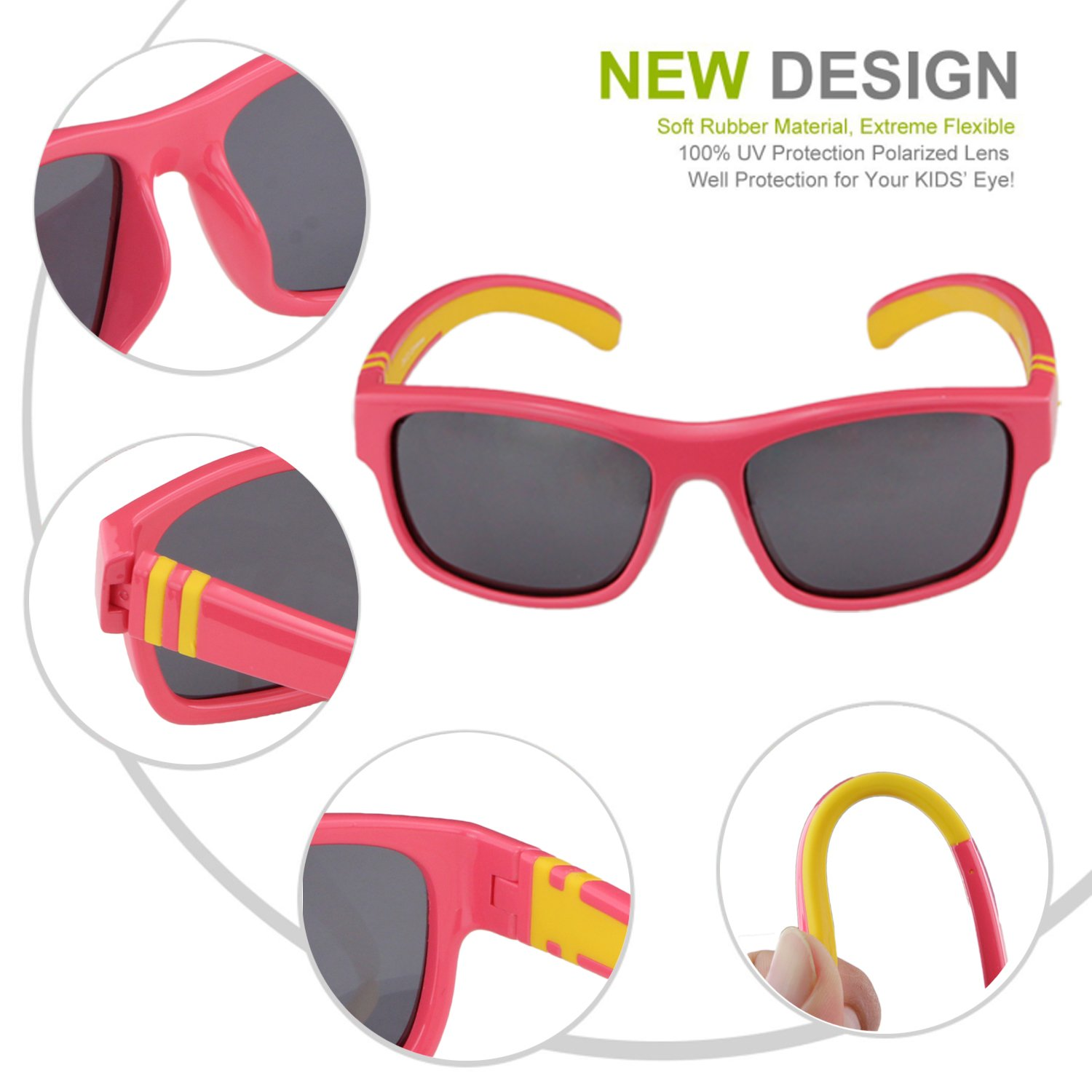 f9ad29bcc4 Duco Kids Sports Style Polarized Sunglasses Rubber Flexible Frame For Boys  And Girls DC-K001