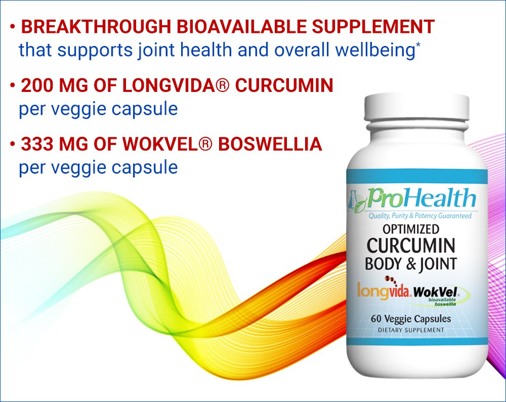 Body & Joint - Optimized Curcumin Longvida by ProHealth (60 veggie capsules) (2-Pack)