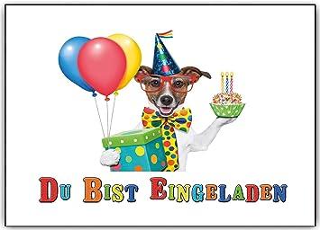 Einladungskarten Kindergeburtstag Party Geburtstag Feier Lustig Witzig Hund  Hunde   10 Stück
