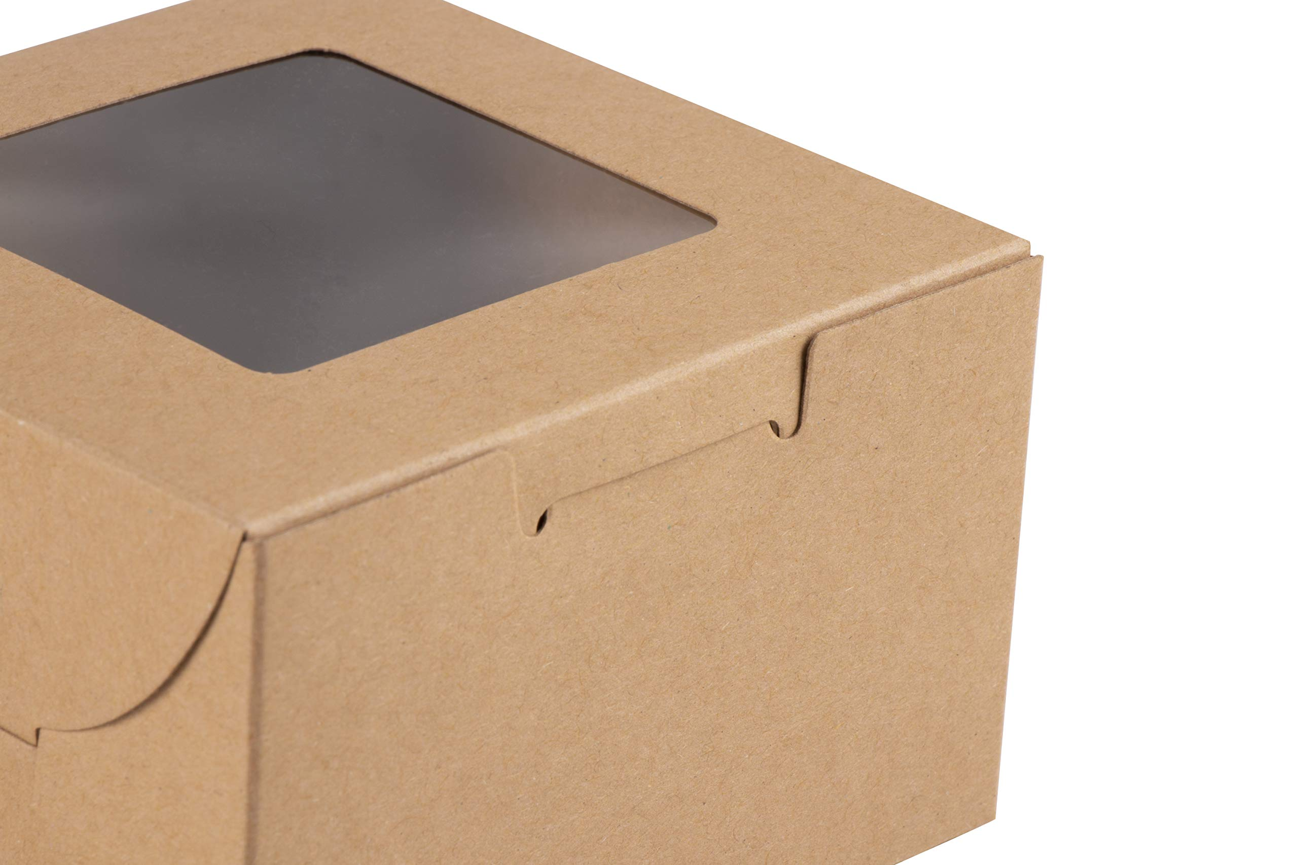 Kraft Paper Bakery Boxes - 50-Pack Single Pastry Box 4-Inch Packaging with Clear Display Window, Donut, Mini Cake, Pie Slice, Dessert Disposable Take-Out Container, Holds 1, Brown, 4 x 2.3 x 4 Inches by Juvale (Image #6)